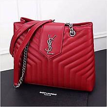 Сумка Large Shopping Ив Сен Лоран шоппер натуральная кожа, цвет красный с серебром