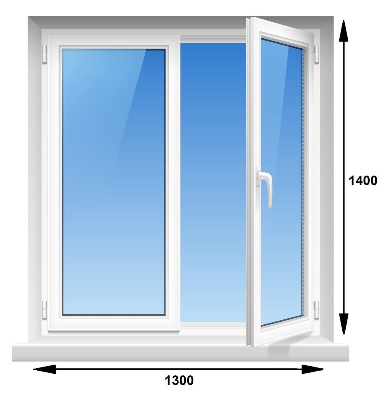 """Пластиковое окно, WHS HALO,   5-этажка """"Хрущевка"""" 1300х1400 мм"""