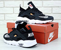 Мужские кроссовки Off-White x Nike Air Huarache Black White ((оф вайт x найк аир хуарачи, черные / белые)
