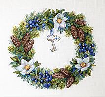 Набор для вышивания крестом Зимний венок Мережка