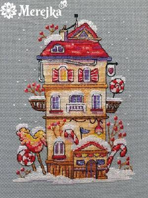 Набор для вышивания крестом Зимний домик Мережка