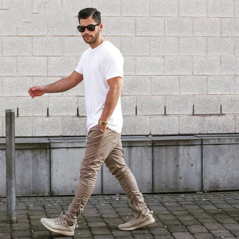 Завужені хіп хоп штани з металевими застібками бежеві