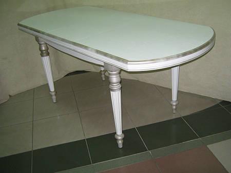 Стол ГАЗДЫНЯ-2(белая эмаль+золотая патина)