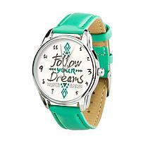 Часы Ziz За своей мечтой, ремешок мятно-бирюзовый, серебро и дополнительный ремешок - R142634