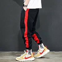 Мужские брюки джогеры с красным лампасом