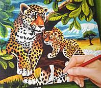 """Раскраска по номерам средняя """"Леопарды"""" (29,7 х 21,0 см.), фото 1"""