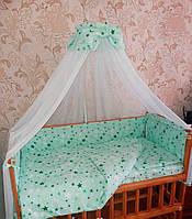 """Детское постельное белье """"Звездочка"""" мятная, комплект 9 предметов!"""