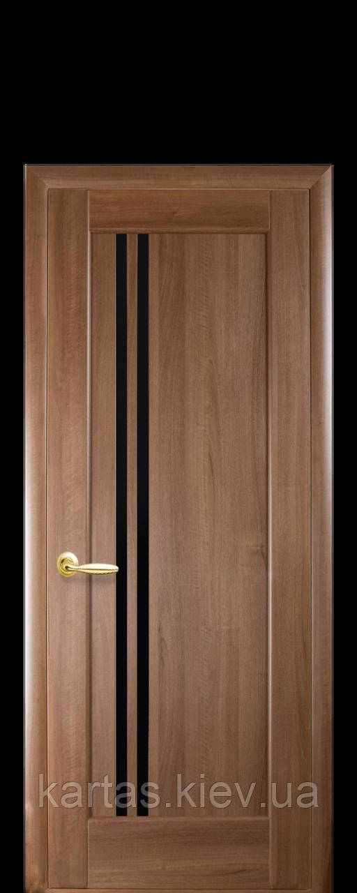 Дверное полотно Делла Золотая Ольха с черным стеклом