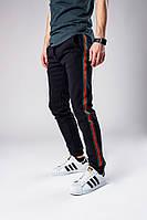 Мужские спортивные штаны с лампасами, черные спортивные штаны с лампасами