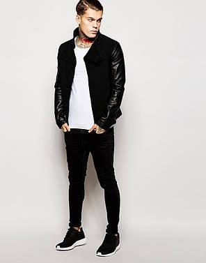 Чоловіча джинсова куртка з шкіряними рукавами на кнопках, фото 2