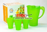 Набор кувшин 2л + 4 стакана 250 мл (питьевой набор) пластиковый (цвет - зеленый) Алеана (Украина)
