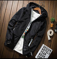 Куртка ветровка мужская с капюшоном черного цвета