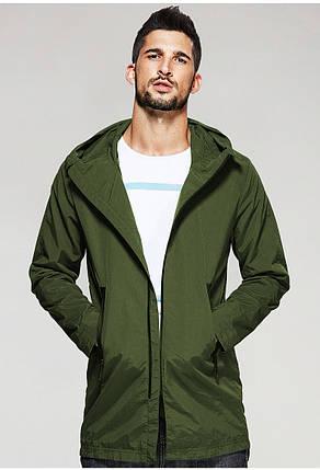 Чоловіча куртка вітровка з капюшоном оливкового кольору, фото 2