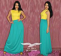 Комбинированное платье в пол с поясом