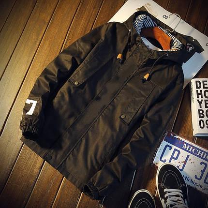 "Чоловіча весняна куртка бавовняна ""07"" чорна, фото 2"