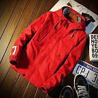 """Мужская весенняя хлопковая куртка """"07"""" красная"""
