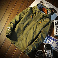 """Мужская весенняя хлопковая куртка """"07"""" цвета хаки"""