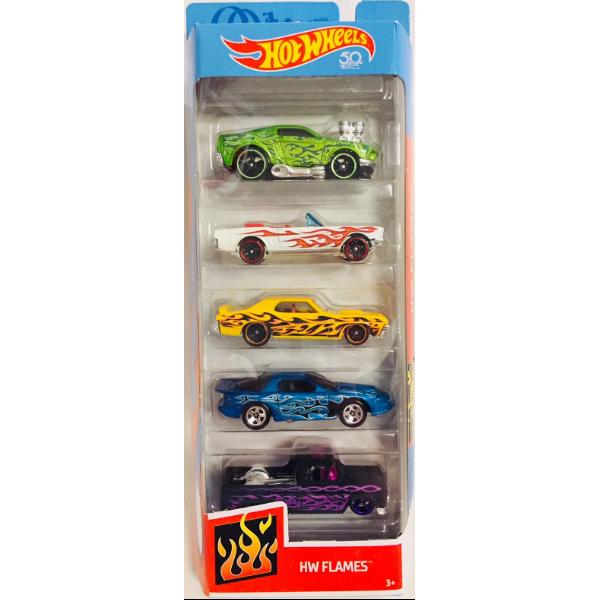 Hot Wheels Подарочный набор машинок из 5-ти штук огонь HW Flames 5 cars Mattel 09355