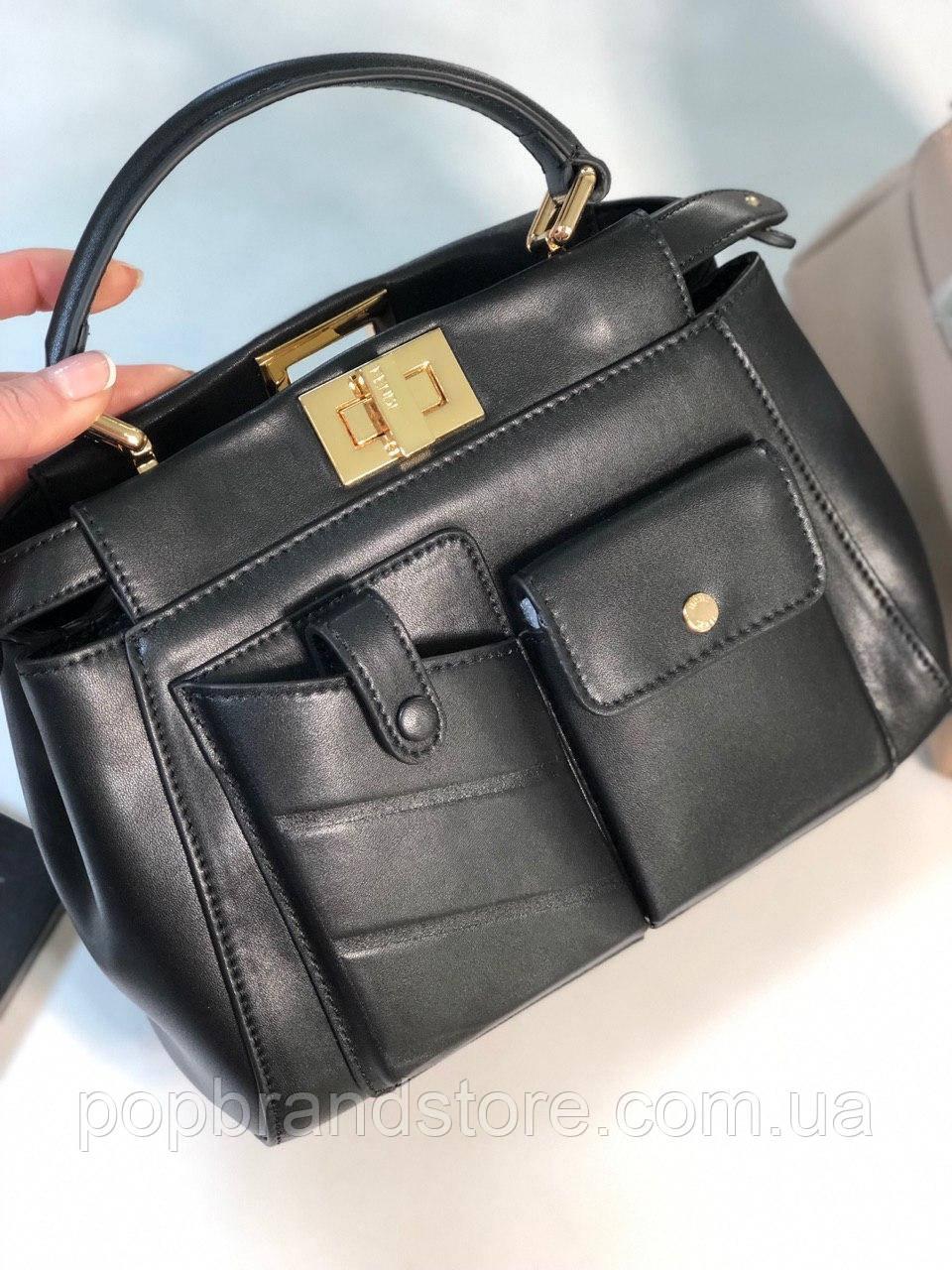 5e11da752aa8 Стильная женская сумка FENDI PEEKABOO черная (реплика) - Pop Brand Store |  брендовые сумки