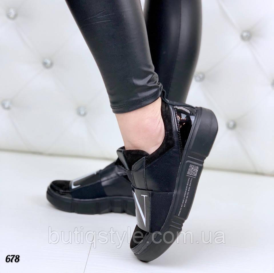 Женские кроссовки _TN_ черные натуральная кожа/замша/лак
