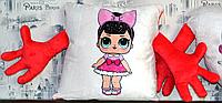 Оригинальная плюшевая  подушка с принтом КУКЛА LOL обнимашки  (диванная, в авто, детская, декоративная)