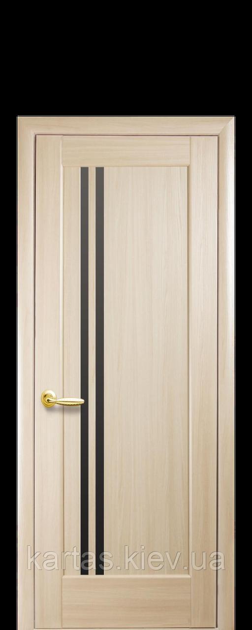 Дверное полотно Делла Ясень New с черным стеклом