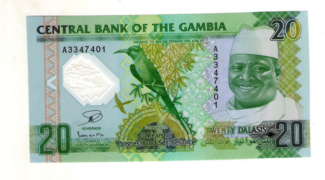 Гамбия 20 даласи пластик состояние UNC №89