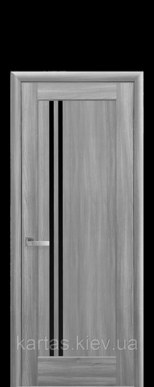 Дверное полотно Бук Пепельный с черным стеклом
