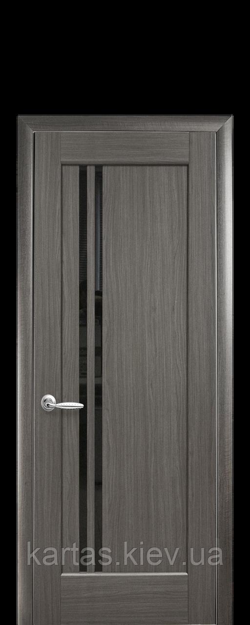 Дверное полотно Делла Серый с черным стеклом