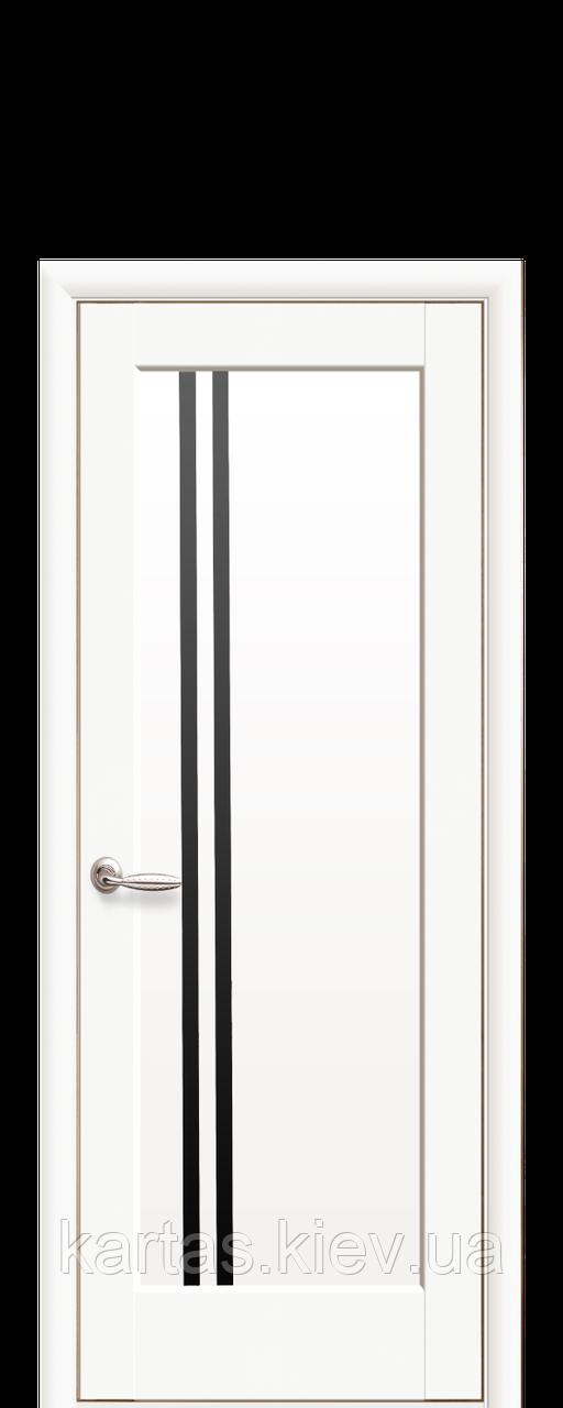 Дверное полотно Делла Белый Матовый с черным стеклом