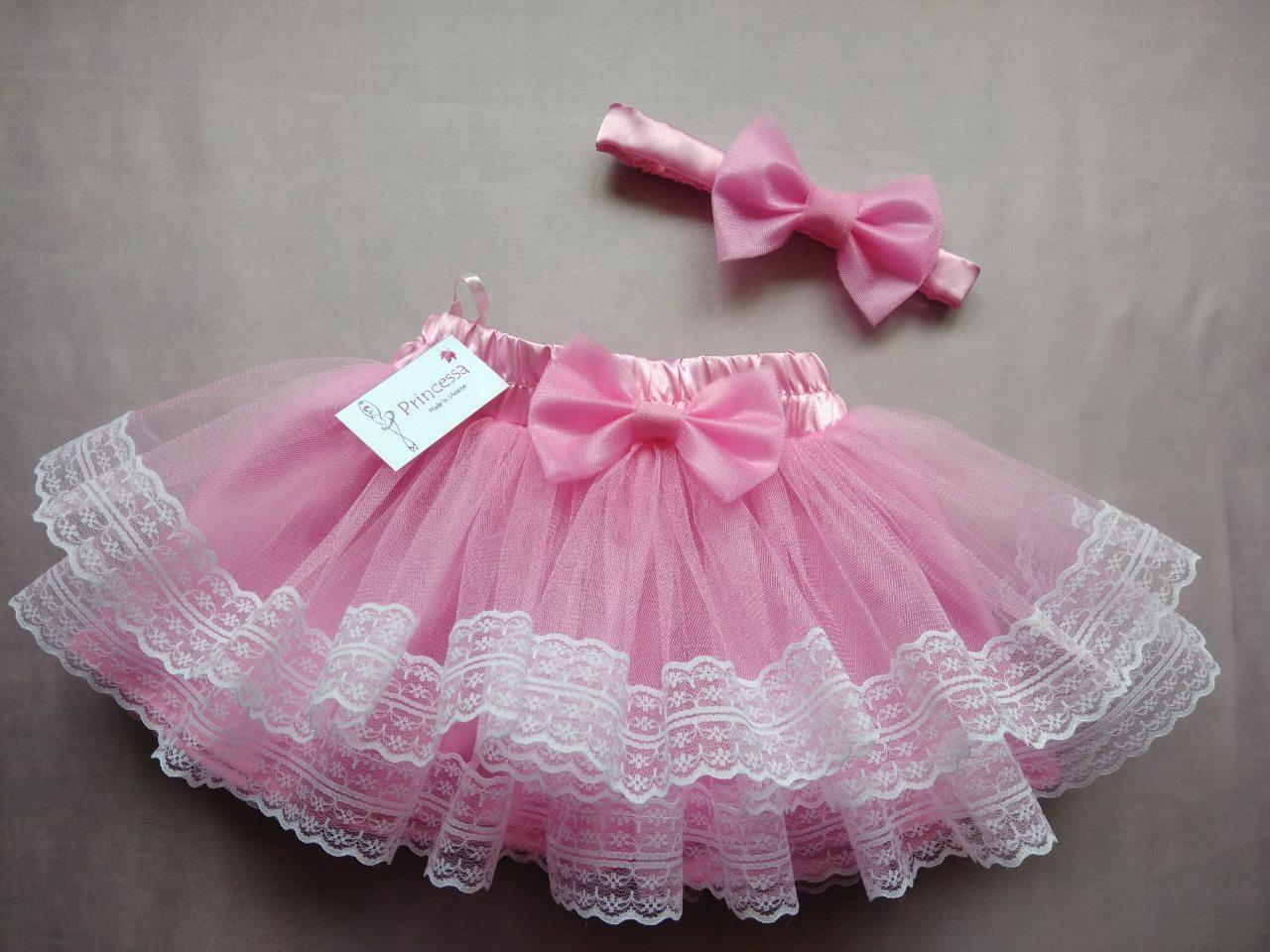 """Юбочка детская """"Зефирка"""" фатиновая розовая на резинке, с подкладом, с белым кружевом."""