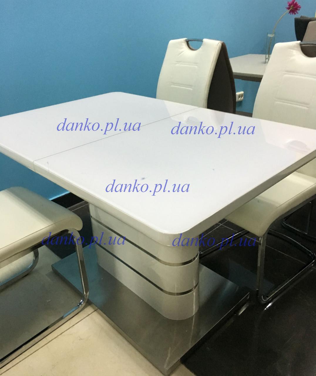 Обеденный стол ТМ-52-1 Vetro Mebel  120/160 белый глянец