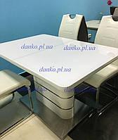 Обеденный раздвижной стол ТМ-52-1 Vetro Mebel белый глянец (120-160)*80*76(Н)