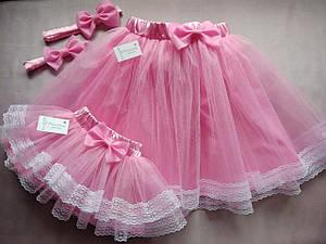 """Комплект """"мама и дочка"""" юбка женская и детская, с подкладом и кружевом. Пошив в любом цвете и размере"""