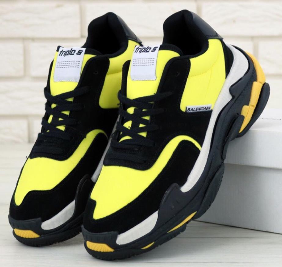 Мужские кроссовки Balenciaga Triple S 2.0 Black Yellow