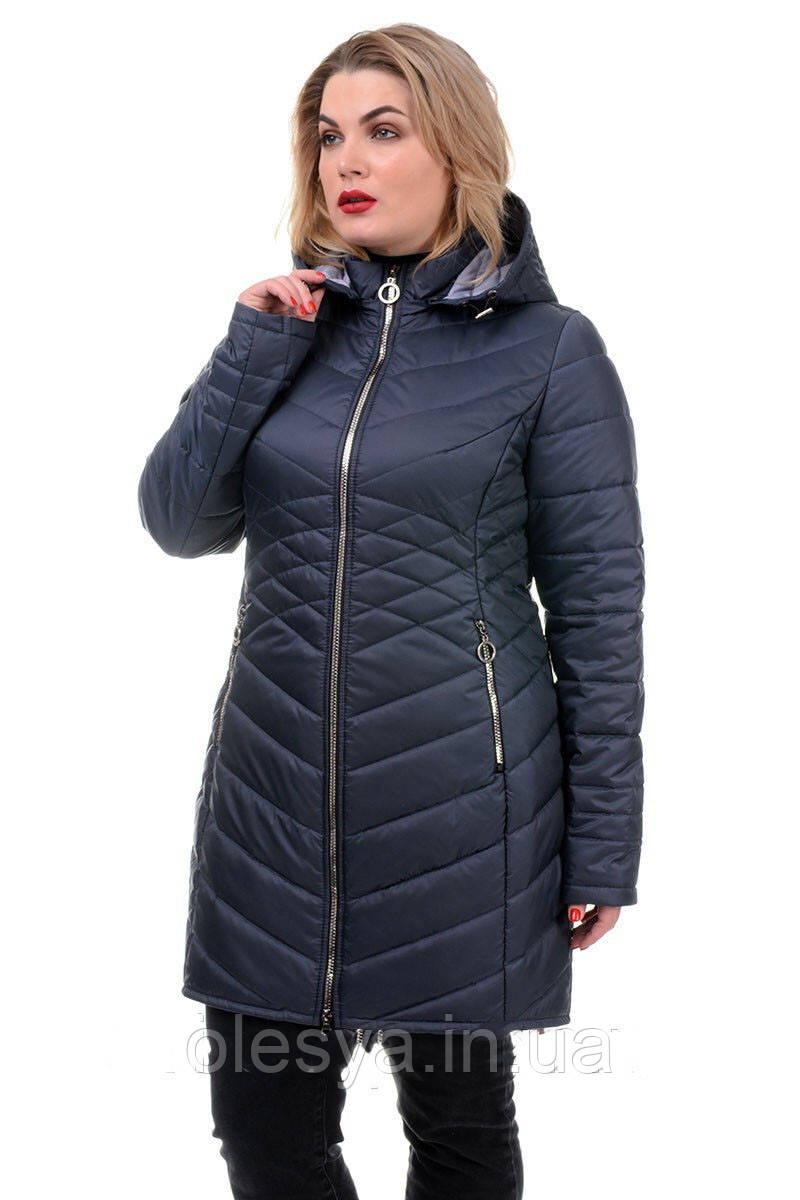 Женская удлинённая демисезонная куртка с капюшоном Размер 50  Новинка