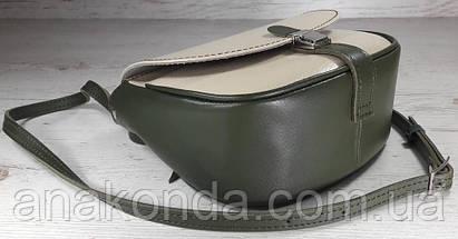 179-к Сумка женская из натуральной кожи оливка сумочка кросс-боди бежевая кожаная сумка женская через плечо, фото 3
