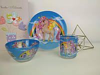 Детский набор стеклянной посуды для девочки с пони Единорог
