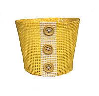 Кашпо из мешковины желтое 9 х 10 см