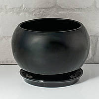 Цветочный горшок 2л  «Шар» черный глянцевый