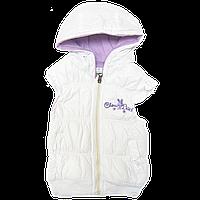 Детская дутая безрукавка жилетка р 104 3 4 года теплая для девочки весна осень плащёвка синтепон 2365 Белый