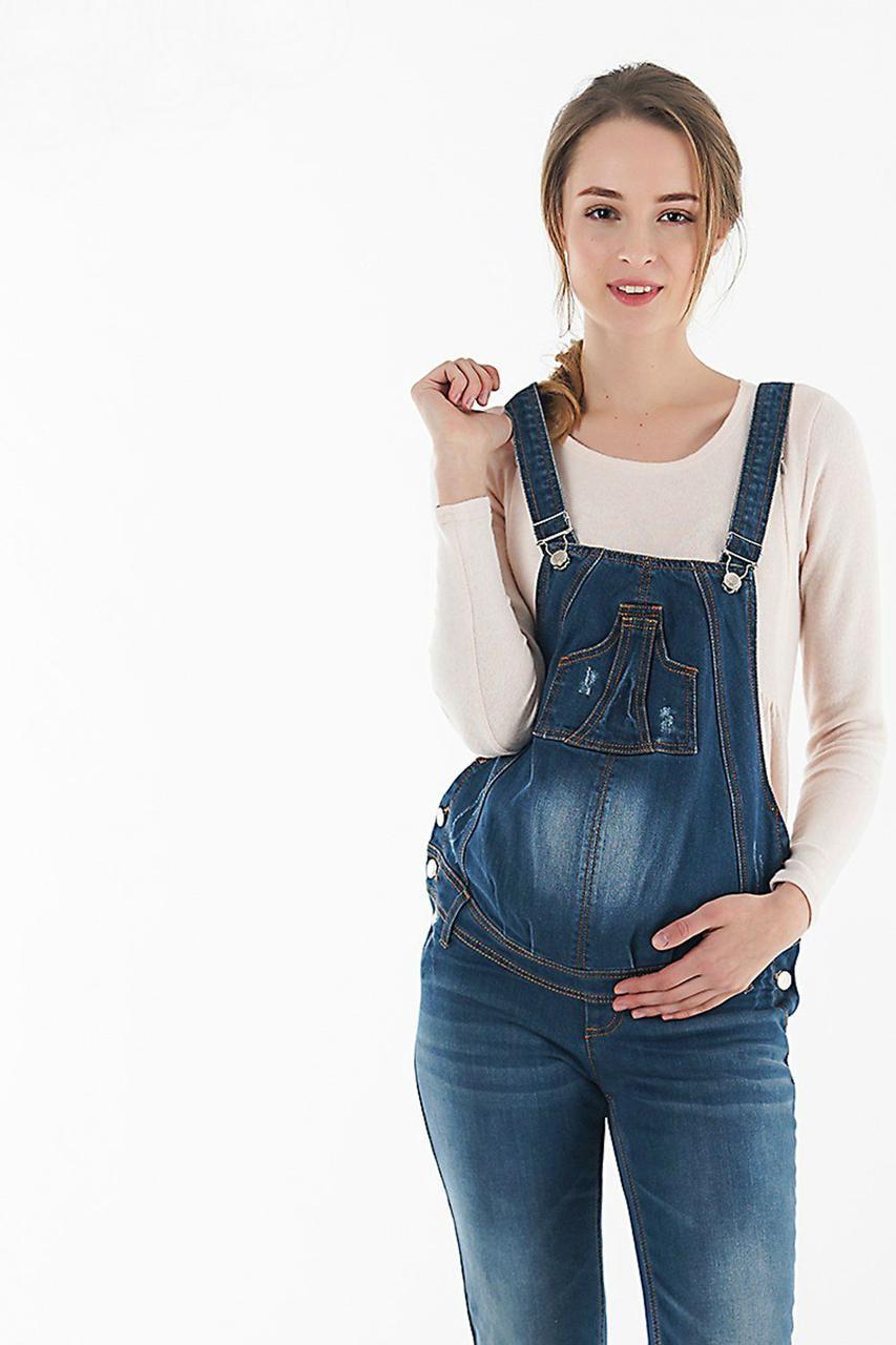 Джинсовый комбинезон для беременных, синий