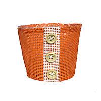 Кашпо из мешковины оранжевое 9 х 10 см
