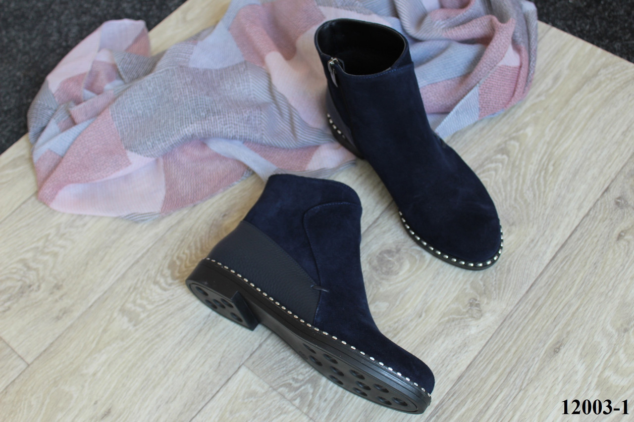 Женские ботинки из натуральной замши синего цвета, 12003-1