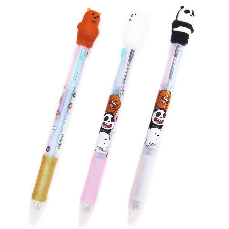 Ручка шариковая с насадкой 3-х цветная Медведь 8063-В