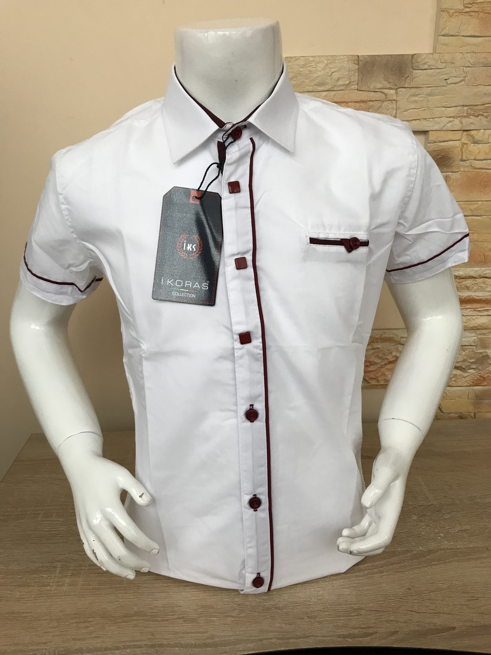 Детская белая рубашка с коротким рукавом, 2-7лет