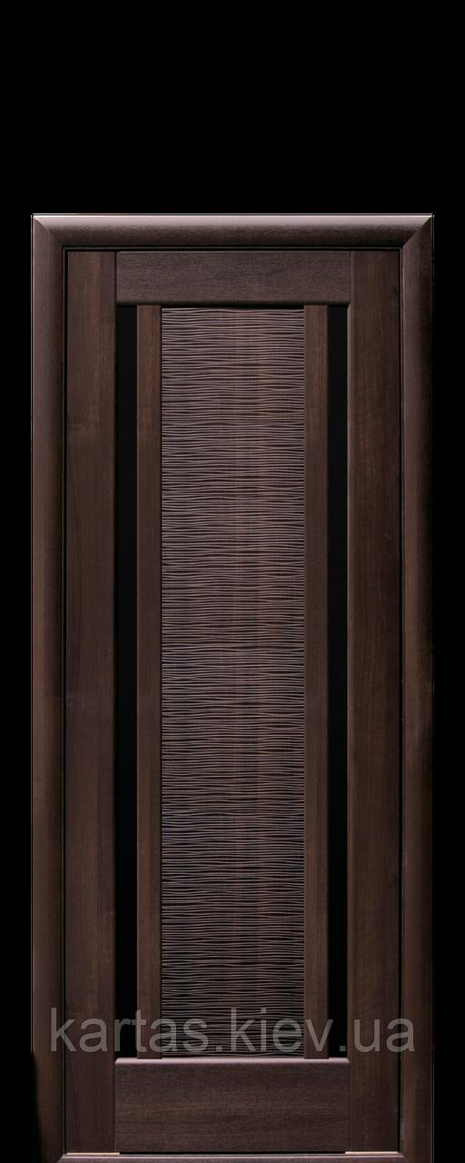 Дверное полотно Луиза Каштан с черным стеклом