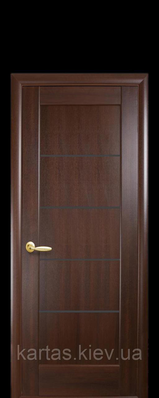 Дверное полотно Мира Каштан с черным стеклом