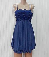 Красивое платье-сарафан синее р.S
