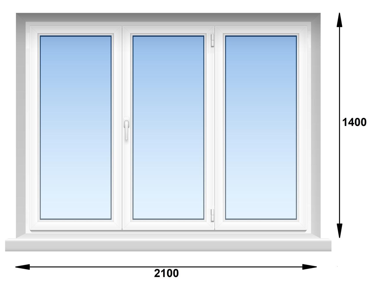 "Окно металлопластиковое, WHS HALO, 5-этажка ""Хрущевка"".  2100х1400 мм"